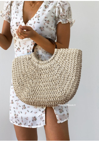 Raffia bag with handle