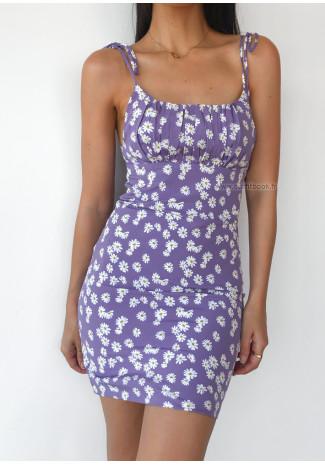 Robe lilas effet plissé avec bretelles à nouer