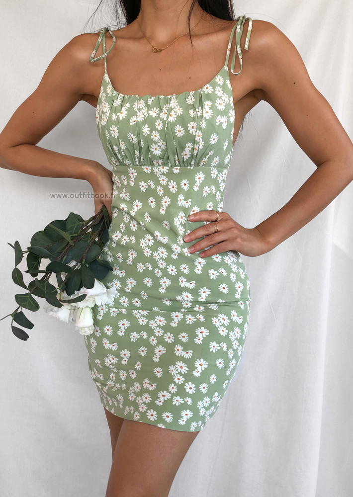 Robe verte imprimé marguerite effet plissé avec bretelles à nouer