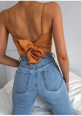 Top with tie back in orange