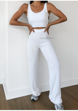 Ensemble top débardeur et pantalon blanc