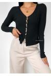 Cardigan côtelé noir avec boutons perles