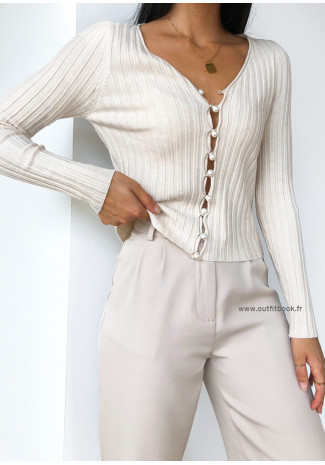 Cardigan with pearl buttons in beige