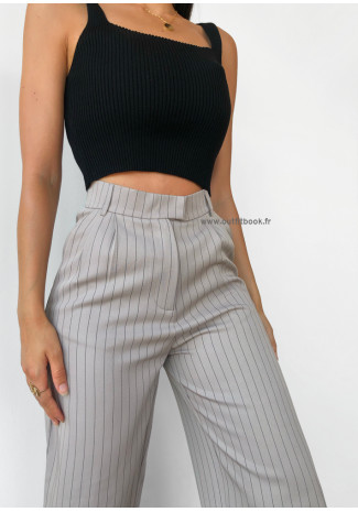 Pantalon large taupe à rayures