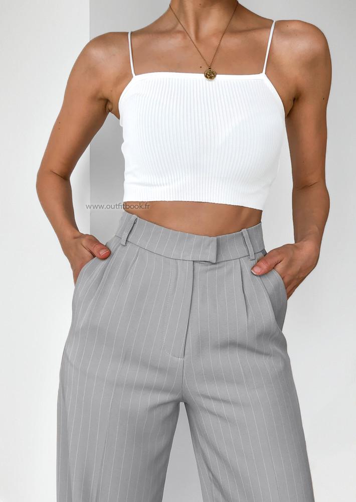 Pantalon large gris à rayures