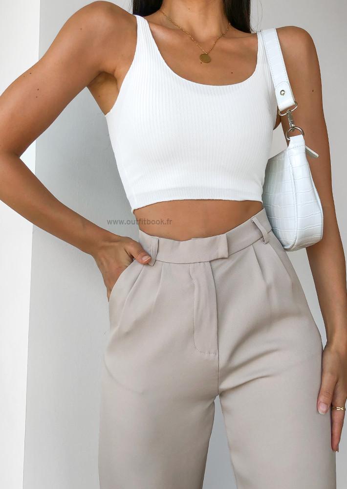 Pantalon large beige