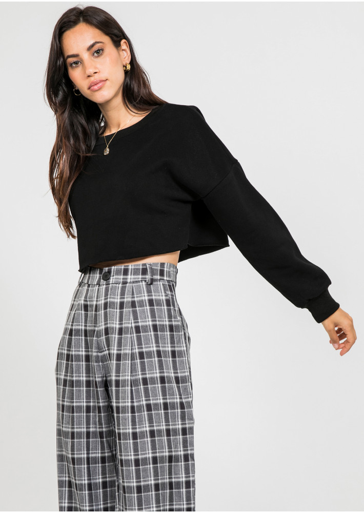 Oversized crop sweatshirt in black