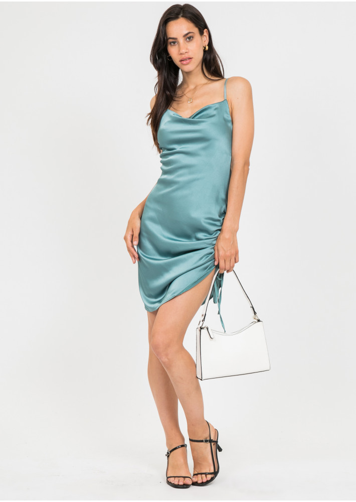 Satin dress with ruched side in green