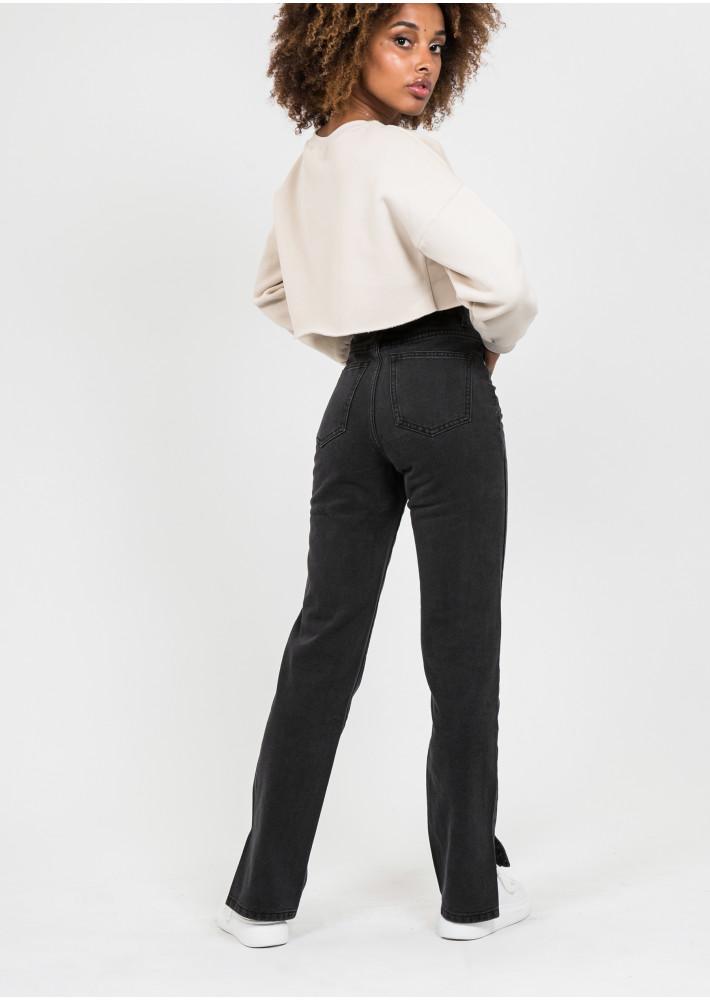 Jean droit taille haute fendu sur les côtés noir