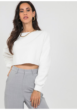 Sweat-shirt court blanc
