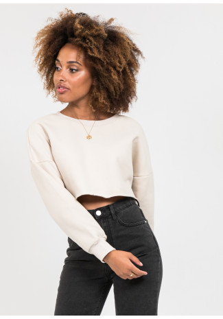 Oversized crop sweatshirt in beige