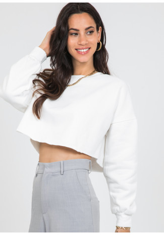 Oversized crop sweatshirt in white
