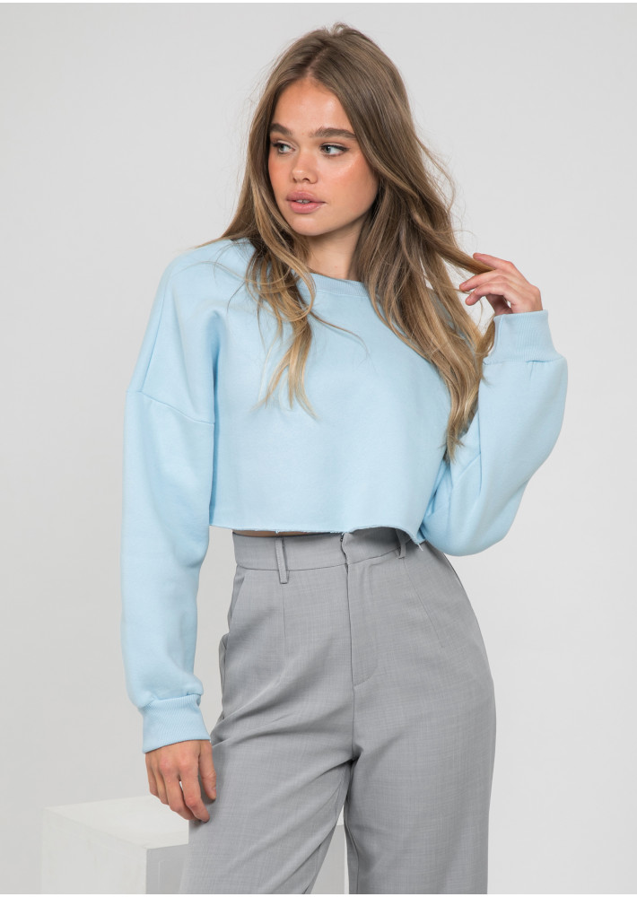 Oversized crop sweatshirt in blue