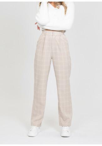 Pantalon beige taille haute à carreaux