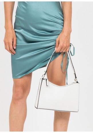 Croc effect shoulder bag in white