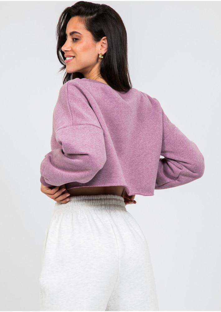Sweat-shirt court violet délavé