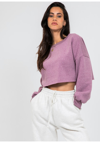 Sweat-shirt court violet délavé