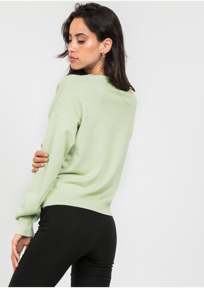 Oversized v neck jumper in pastel green