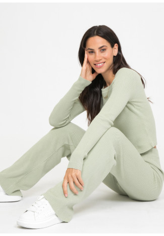 Lounge ribbed co-ord set in green