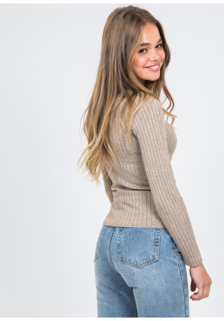 High neck rib knit jumper in taupe