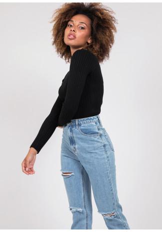 High neck rib knit jumper in black