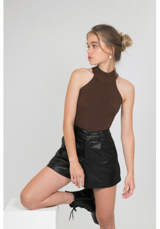 High neck top in dark brown