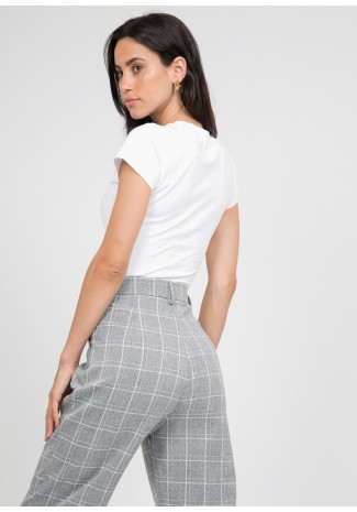 Check high waist trousers in grey