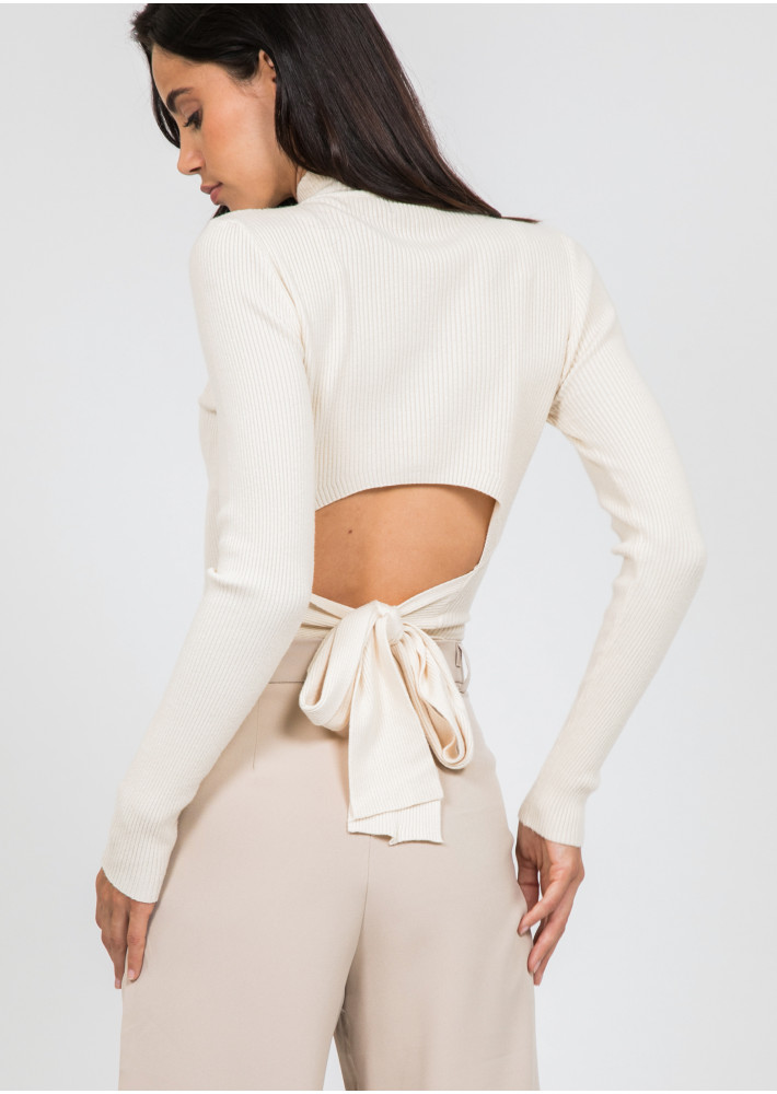 Long sleeve top with knot back detail in beige