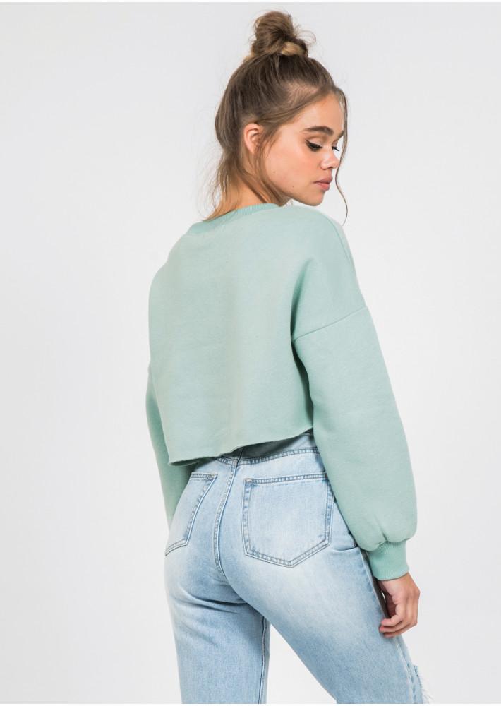 Sweat-shirt court vert délavé