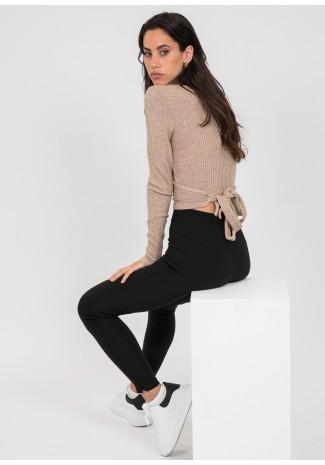 Trousers with side split in black