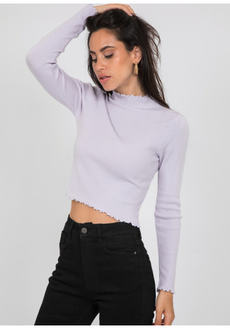 High neck jumper with ruffle hem in lilac