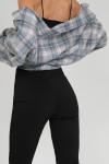 Split front trousers in black