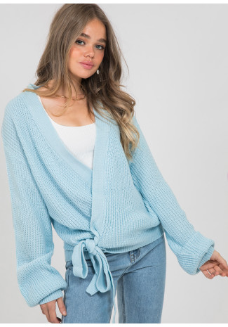 Wrap cardigan with tie front in blue