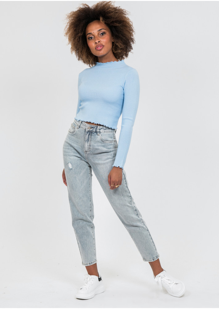 High neck jumper with ruffle hem in blue