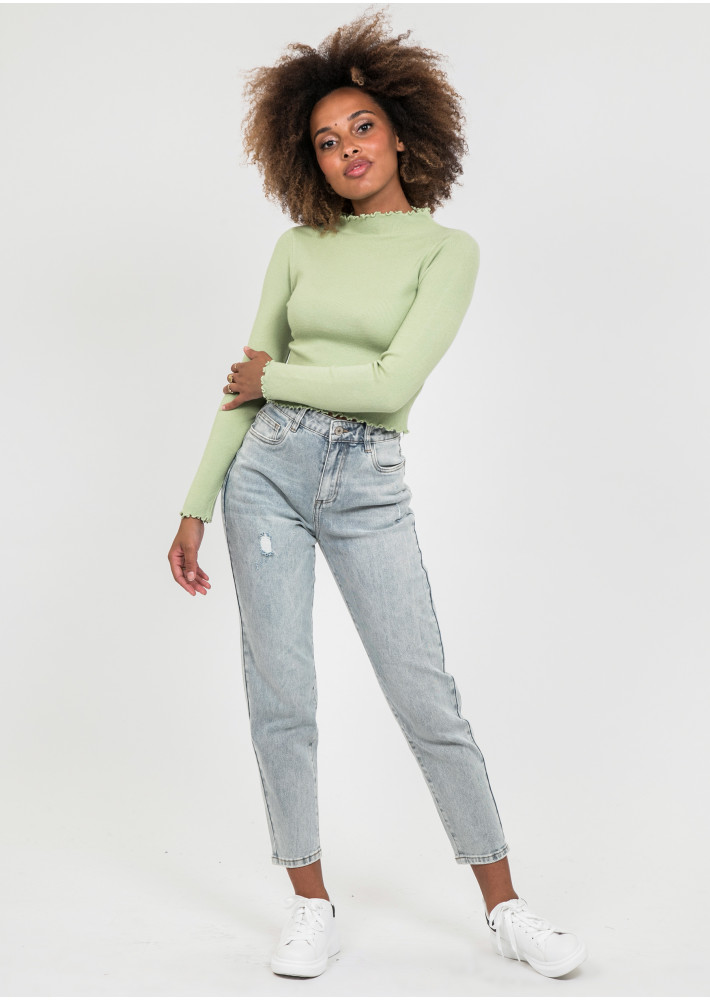 High neck jumper with ruffle hem in green