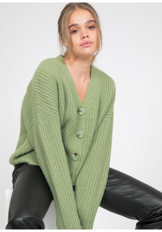 Knit cardigan with buttons in sauge
