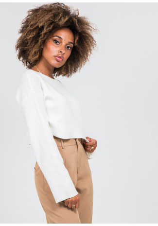 Cropped oversize jumper in white
