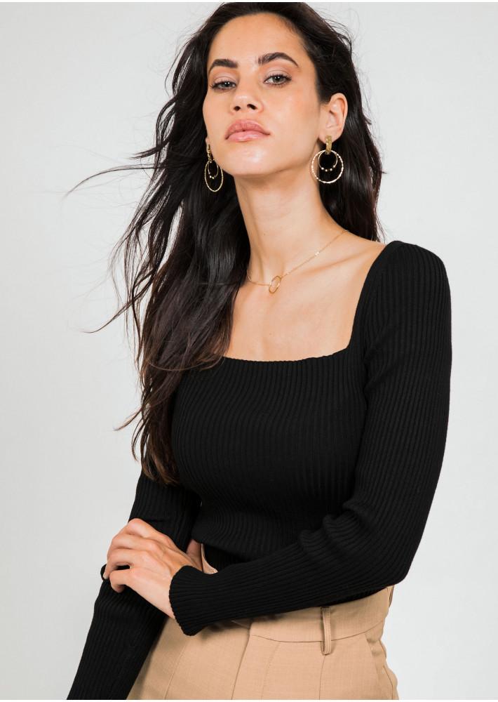 Ribbed square neck top in black