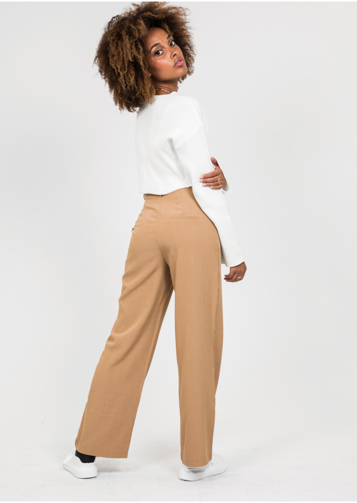 Wide leg trousers in camel
