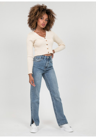 Straight leg split detail jeans in medium blue