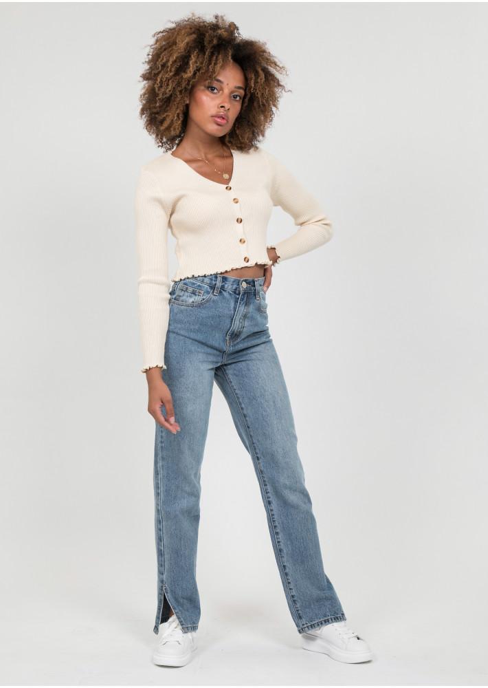 Straight leg split detail jeans in medium blue