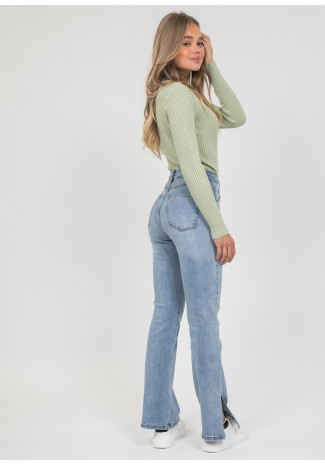 Flare jeans with splits hem in blue