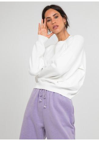 Oversized round neck jumper in white
