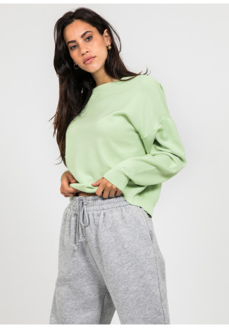 Pull oversize col rond en maille vert
