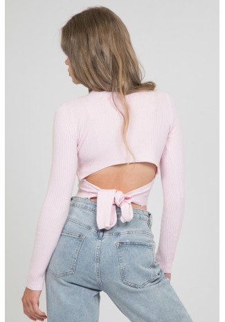 Long sleeve top with knot back detail in soft pink