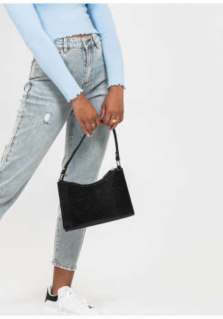 Croc effect shoulder bag in black