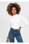 High neck rib knit jumper in white