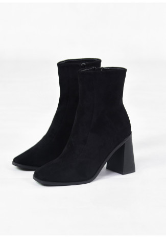 Square toe ankle boots in black suede