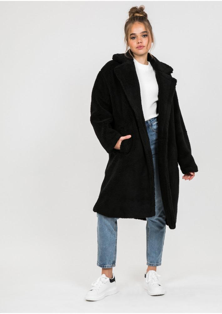 Manteau long noir effet peau de mouton