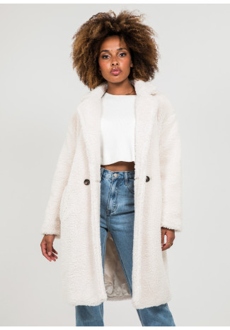 Teddy coat in cream